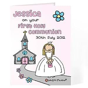 Bang para puerta con inscripción en la tarjeta de invitaciones para Comunión para niñas. Este es un producto de calidad personalizable que se puede requisitos del (visita la principal discription para una total detalles) Ideal de regalos y Regalos para bodas, bautizos, cumpleaños, Navidad etc...