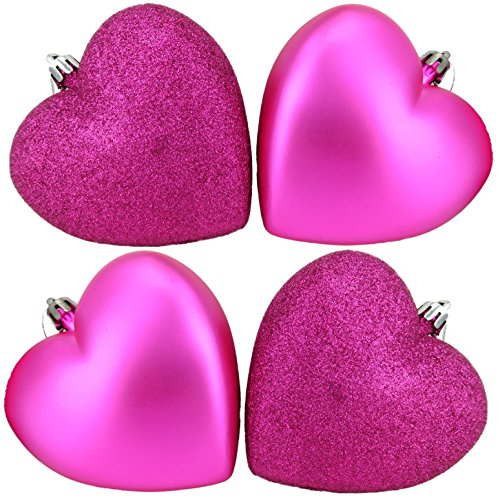 4 x 100mm Hot Pink Glitter Heart Shaped Christmas Tree Baubles