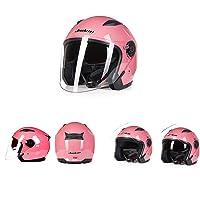 Gooooolife Casco De La Motocicleta Hombres Y Mujeres Medio Casco Cubierta Personalidad Cool Cuatro Estaciones Doble Lente Rosa