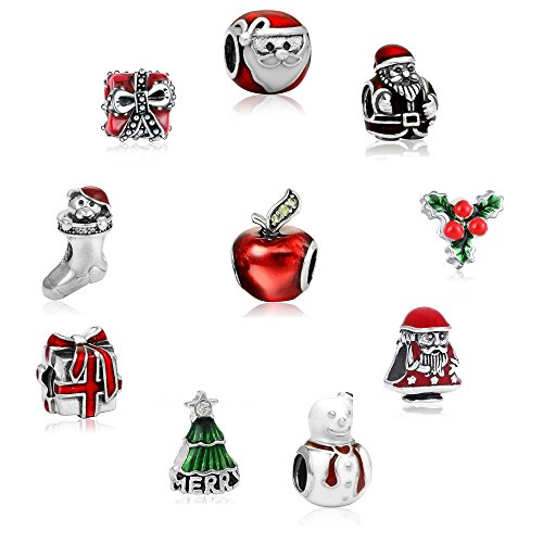 10pcs Mixed Style European Style Enamel Crystal Red Apple Bead Charms Fits Pandora Bracelets for Women Jewelry,Christmas Beads