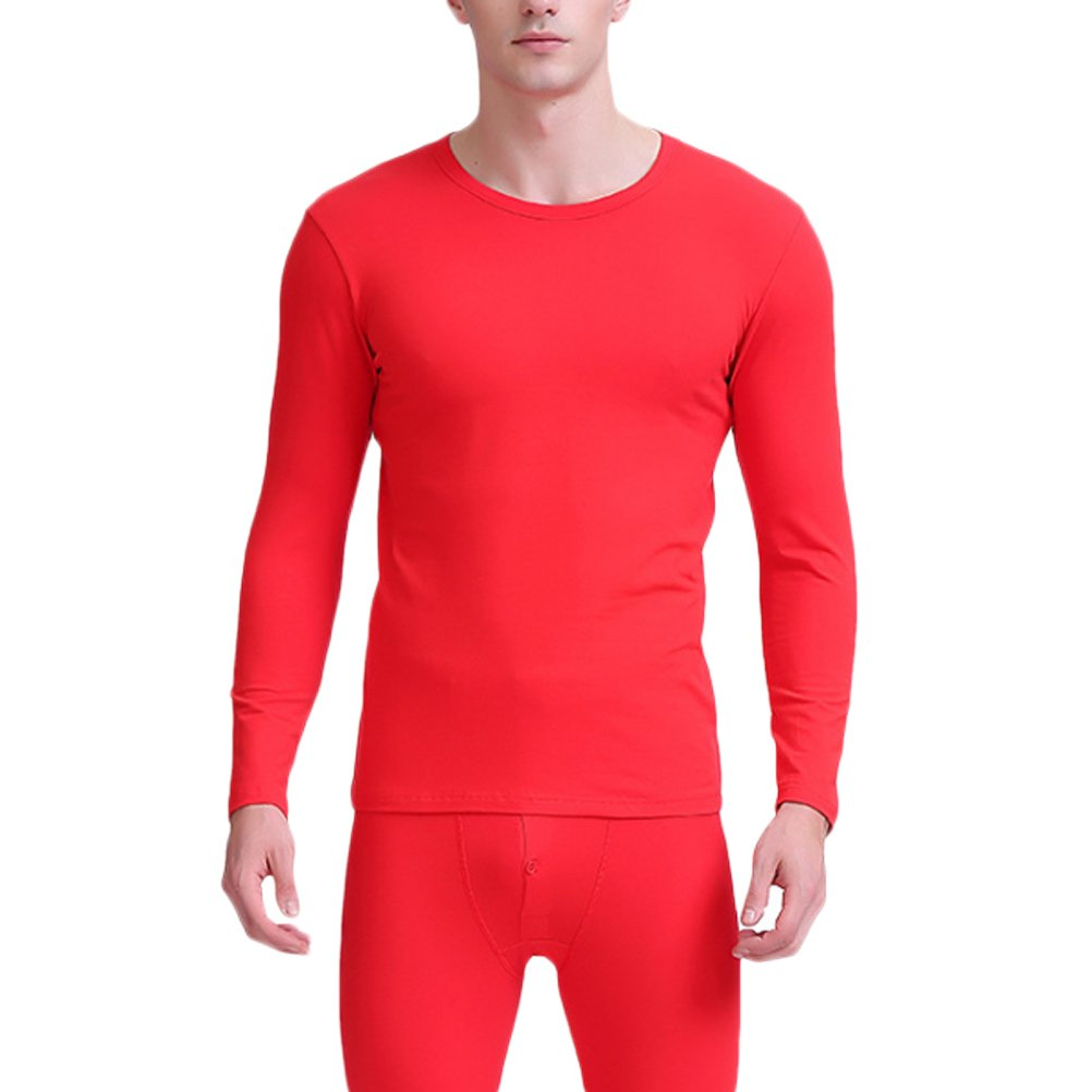 Zhhlinyuan Mens Fiber Thermal Underwear Set Round Neck Long Sleeve Top & Bottom