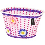 PedalPro Flowery Childrens Bicycle Basket - White, Pink & Purple