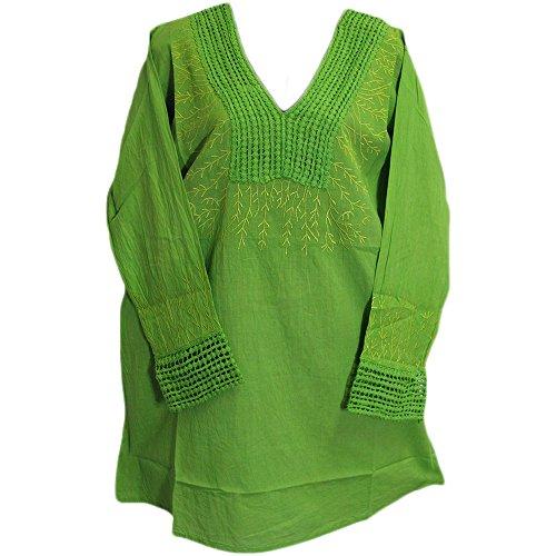s Indian Cotton V-Neck Long Sleeve Embroidered Long Kurti Tunic Blouse (One Size, Green) (Arizona Embroidered Long Sleeve)