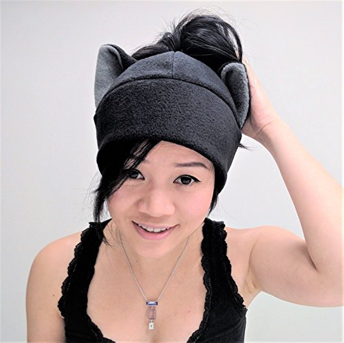 Black Cat Ear ponytail Hat Messy bun Toque Beanie Feline Kitty Kitten Fleece Anime Manga Ski Snowboarding Convention Goth Punk Rave Costume Cosplay Halloween cat Christmas Gift