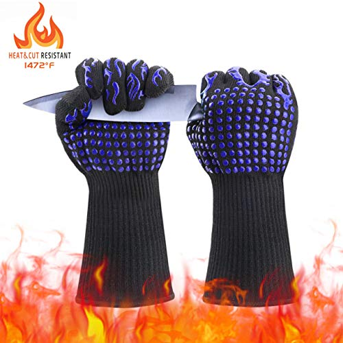 Idefair(TM BBQ Grill Gloves 1472°F Extreme Heat Resistant Long Non-Slip Oven Mitts Potholder Glove with Cut Resistant Prefect for Kitchen Cooking Grilling Baking Cutting Smokers 1Pair (Blue)