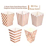 Rose Gold Open-Top Popcorn Box Set of 60 Popcorn Favor Boxes Cardboard Candy Container Parties Mini Paper Popcorn Containers Birthday Bridal Baby Shower Fiesta Dessert Tables Wedding Party