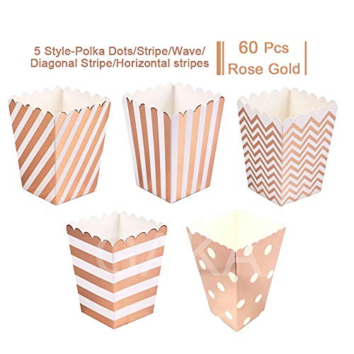 Rose Gold Open-Top Popcorn Box Set of 60 Popcorn Favor Boxes Cardboard Candy Container Parties Mini Paper Popcorn Containers Birthday Bridal Baby Shower Fiesta Dessert Tables Wedding Party by GAKA