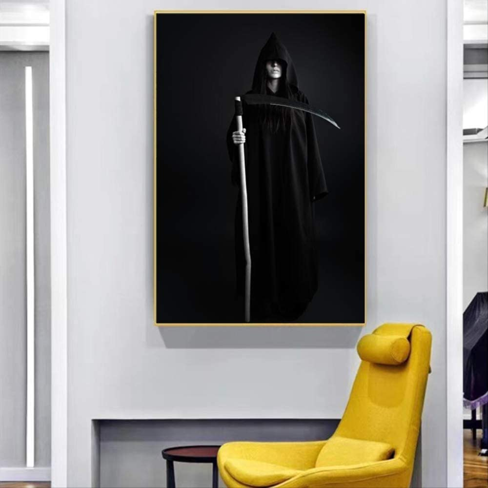LWJZQT Retrato Moderno Carteles E Impresiones Arte De La Pared Pintura sobre Lienzo Grim Reaper Cuadros Decorativos para Sala De Estar Sin Marco 60×80cm