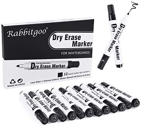 12 Quality Large white board whiteboard markers pens dry wipe markers BLACK with CLIPS