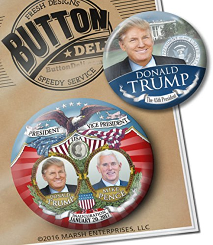 Marsh Enterprises - 2 VICTORY Inauguration Buttons - Donald Trump the 45th President By Button Deli - Inauguration Pinback Button
