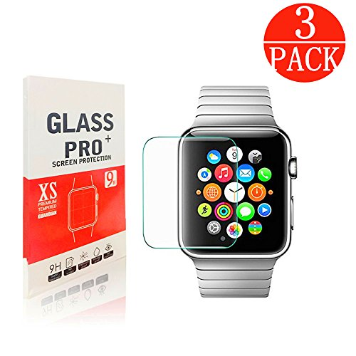 [3-Pack] Apple Watch 42mm Tempered Glass Screen Protector - Linboll [Only Covers the Flat Area] Anti-Scratch, 9H Hardness, Bubble Free Screen Protector for Apple Watch 42mm
