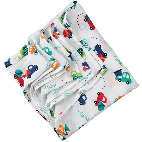 Boy and Girl 100% Cotton Swaddle Blanket, Cute Baby Bamboo Muslin Blankets for Large Size 47 x 47 inches (Toy Car)
