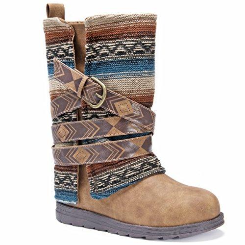 MUK LUKS Womens Nikki Boots-Brown Fashion