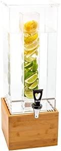 Bev Tek 2 gal Square Clear Acrylic Beverage Dispenser - Infusion Core, Bamboo Base - 9 3/4