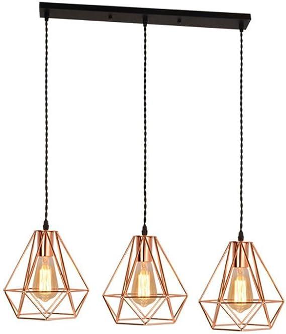 LIUYU Industrial Modern Vintage Loft Kitchen Bar 3 Luces Accesorios de techo Lámpara de araña Cono Diamantes Sombra de luz Colgante Lámpara colgante Lámpara de sala de estar Comedor Dormitorio Oficin: Amazon.es: