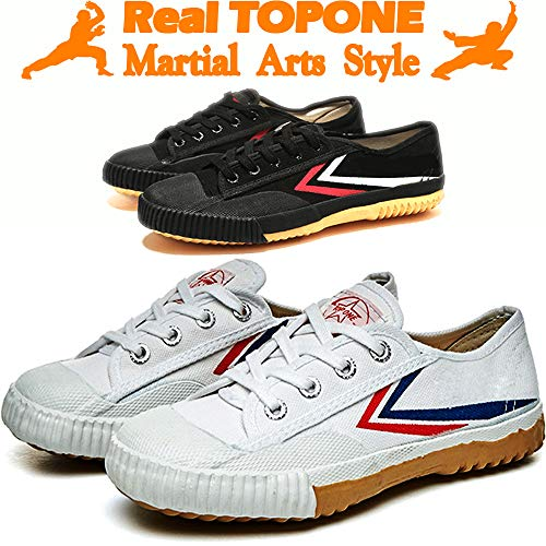 T.O.P ONE Kung Fu Martial Arts Parkour Shoes,Rubber Sole Sneakers-White 44(Men 10.5|Women 12)