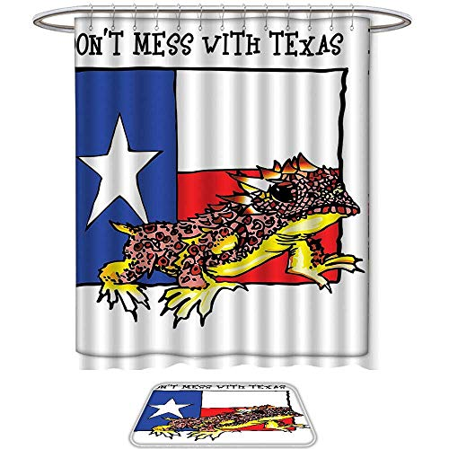 Decorate The Bathroom Reptile Decor Illustration of Cute Warrior Horned Toad Standing for Texas City American Dream Wild Home Multi. Prints Decorate The Bathroom(Ten Sizes -
