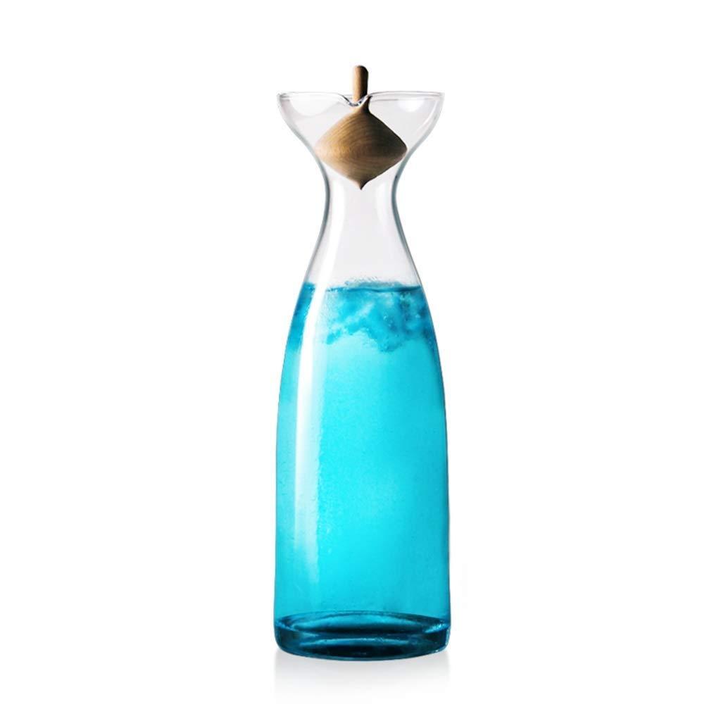 HEMFV Caraffa per Acqua in Vetro Gyro Cover in Legno Trasparente per Uso Domestico 1200ML Prezzi