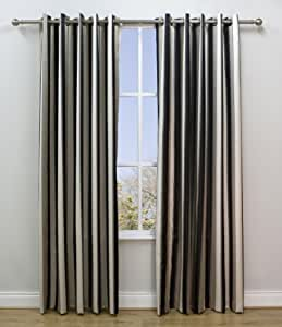 Abbeylands Furniture (Navan) Ltd Scatterbox Lexington - Cortinas de satén (10 anillas plateadas, 168 x 228 cm), color negro y beige