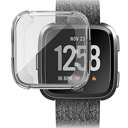 ToaPoia Fitbit Versa Case, Ultra-thin HD Clear Soft TPU Cover Case [Scratch-Proof] All-around Protective Bumper Screen Protector for Fitbit Versa Smart Watch