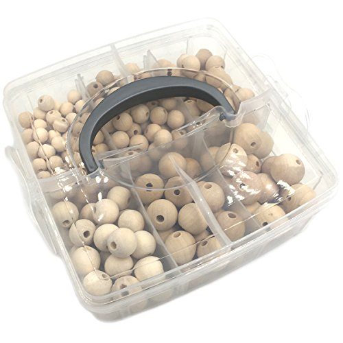 Wendysun DIY Baby Wooden Teether Nursing Jewelry Combination Package Accessories Blending Natural Round Wooden Beads Set Crafts Beaded