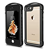 SNOWFOX iPhone 6 Plus / 6S Plus Waterproof Case, Outdoor Underwater Full Body Protective Cover Snowproof Dustproof Rugged IP68 Certified Waterproof Case for iPhone 6 Plus / 6s Plus (Black/Clear)