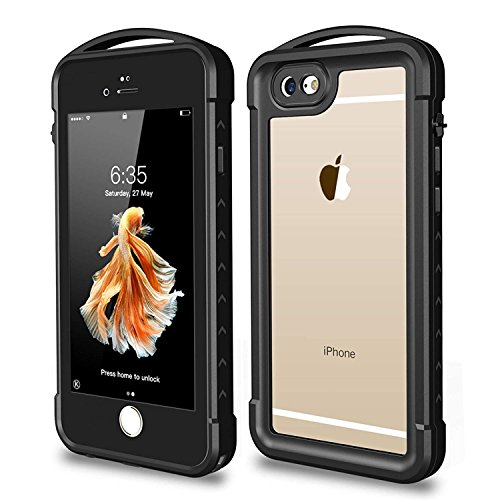 SNOWFOX iPhone 6 Plus / 6S Plus Waterproof Case, Outdoor Underwater Full Body Protective Cover Snowproof Dustproof Rugged IP68 Certified Waterproof Case iPhone 6 Plus / 6s Plus (Black/Clear)