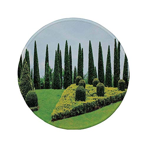 Non-Slip Rubber Round Mouse Pad,Country Home Decor,Classic Formal Designed Garden with Evergreen Shrubs Boxwood Topiaries,7.87