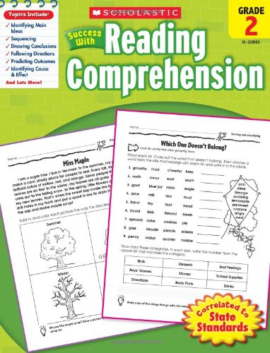 Scholastic Success with Reading Comprehension, Grade 2 (Leveled Vocabulary And Grammar Workbook Guided Practice)