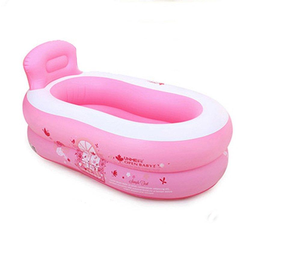 Inflatable Bathtub, Portable Folding Bathtub, Swimming Pool, Family Bathtub (Color : Pink)