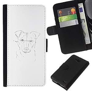 KLONGSHOP // Tirón de la caja Cartera de cuero con ranuras para tarjetas - pintura del perro dibujo dibujo a lápiz blanco - LG OPTIMUS L90 //