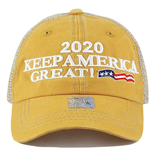- The Hat Depot Trump 2020 President Campaign Flag Mesh Pigment Cotton Unstructured Cap (Mesh-Mustard)