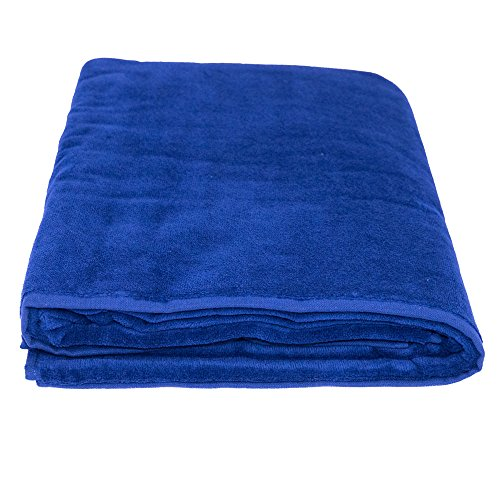 La Calla Turkish Beach Towel - Oversized 35 Inches by 60 Inches Bath Towels - 100% Terry Velour Cotton - Multipurpose Use for Beach Bath and Spa - Eco Friendly Material (Navy, 1)