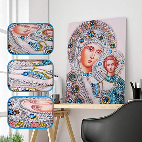 Chenway 5D Shaped Diamond Painting Painting Kit Animal & Nun Rhinestone-30x40cm Cross-Stitch Embroidery Canvas Paste Craft Art Deco for Home Wall (D) ()