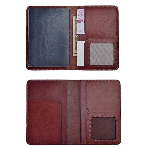 ZLYC Vintage Passport Holder Leather Passport Protector Case Cover Travel Wallet (Dark Red)