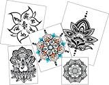 Large Mandala Temporary Tattoo Set - Body Art - Yoga Accessory - Birthday & Party Gift - 5 Designs - 10 Large Tattoos