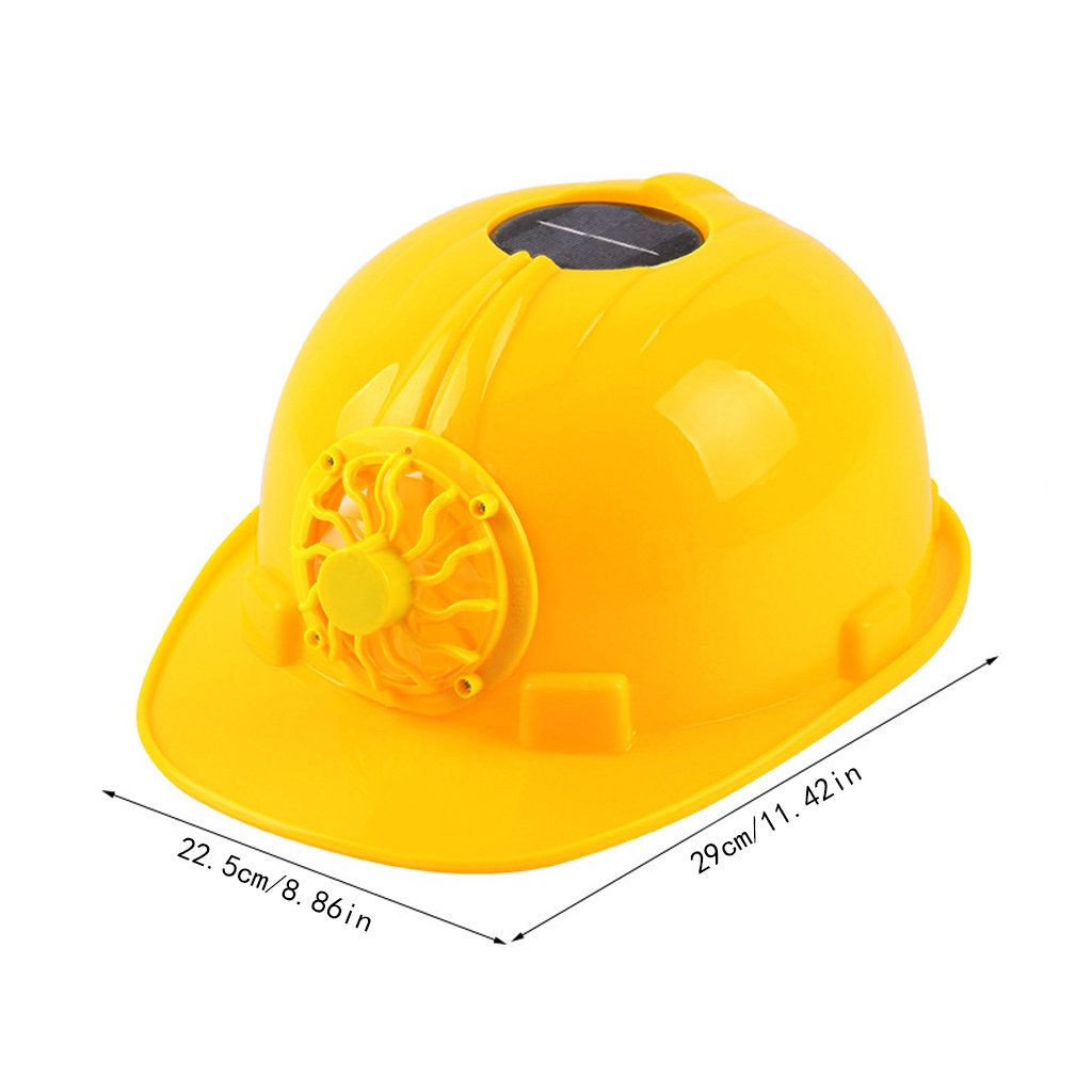 Susada Hardhat Yellow Solar Powered Cooling Fan Safety Helmet Work Cap Head Protect