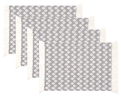 (Sticky Toffee Cotton Woven Placemat Set with Fringe, Scalloped Diamond, 4 Pack, Gray, 14 in x 19 in )