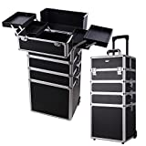 AW 4 in1 Rolling Makeup Artist Train Case Lockable Trolley Cosmetic Travel Box 2 Wheels Black