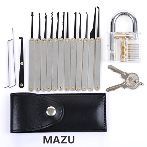 mazu 12 piece unlocking lock pick set bundle with transparent practice padlocks and ebook. Black Bedroom Furniture Sets. Home Design Ideas