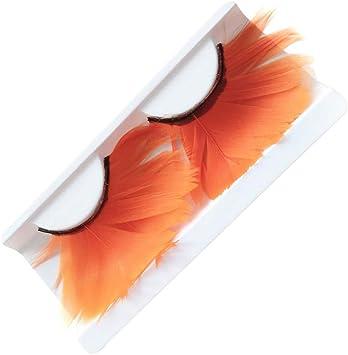 Haodou Pestañas postizas fantasía con plumas Extensiones Natural largas para maquillaje de Separación Pestañas de Disfraz de Halloween (Naranja): Amazon.es: Belleza