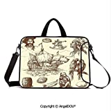 AngelDOU Neoprene Laptop Shoulder Bag Case Sleeve with Handle and Extra Pocket Merchant Ship Banana Monkey Parrot Boat Historical Sketch Style Artwork Compatible with MacBook/Ultrabook/HP/Acer/Asus/