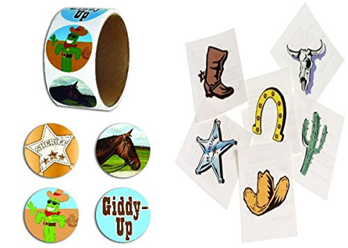 happy deals Western Party Favor Set - Includes 144 Western Tattoos and Roll of 100 Western Theme -
