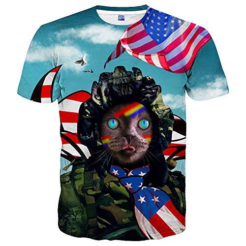 Hgvoetty Unisex 3D Print Cat Shirts USA Flag T Shirts for Men Women Teens ()
