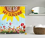 Ambesonne Western Farmhouse Mansion Nature Decor Collection, Sunflower Poppies Tulips Pansy Flowers Butterfly You are My Sunshine, Polyester Fabric Bathroom Shower Curtain Set with Hooks