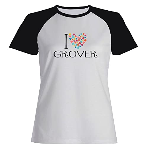 Idakoos I love Grover colorful hearts – Nomi Maschili – Maglietta Raglan Donna