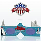 3D Christmas Glasses - 5 Pack - See PENGUINS! Turn Holiday Lights Into Magical Images For A Fun Christmas Experience. Our Holographic Glasses Are Perfect For Entertaining Family, Friends & Colleague