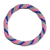 Neon Hot Pink, Cobalt Blue, Silver Crocheted Beaded Bracelet, Seed Beads,Nepal, PB329