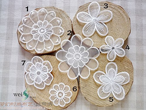 The Bestdeal 7PCS Vintage Lace Stick,Sew on Fabric Flower Motifs,Craft,Sewing(White (Sew Fabric Flowers)