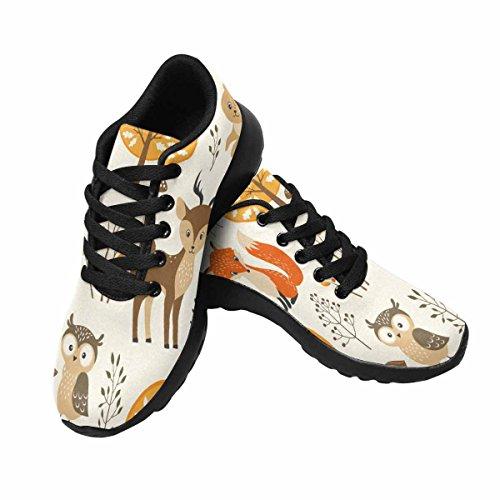 Chaussures De Course De Trailprint Womensprint Jogging Sports Légers Marchant Des Baskets Athlétiques Modèle De Forêt Dautomne Avec Des Animaux Mignons Multi 1